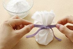 No More Stinky Shoes Simple Simple Simple! Just a cloth square full of Baking soda!