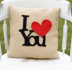 I Love You- Decorative Felt I Heart You Burlap Pillow 14x14 Photography Prop…