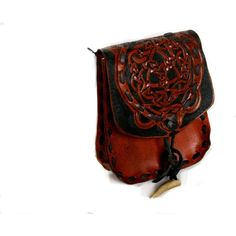 Leather Belt Bag- Fire Dragon With Celtic Knot Work Belt Bag-Tooled... ($125) ❤ liked on Polyvore featuring bags, accessories, medieval, purses, fanny pack bags, bum bag, belt pocket bag, leather bag belt and leather pocket belt