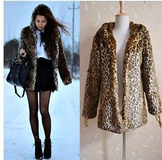Vintage feminina Sexy Sexy Leopard Print Faux Fur Jacket Winter Fall Chic Women Waistcoat Coat Jacket Warm Hooded Outerwear RY25