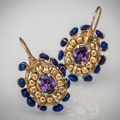 Cubic Zirconia pendientes de lapislázuli Cherkes, pendientes azul, joyería orgánica, joyería, pendientes de lapislázuli Lapis joyería, Boho Chic azul