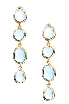 Mixed Shape Blue Topaz Drop Earrings