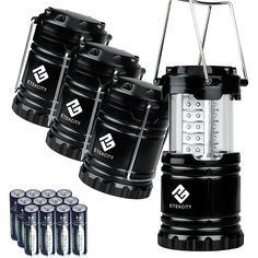 Etekcity 4 Pack Portable Outdoor LED Camping Lantern with 12 AA Batteries - Survival Kit for Emergency, Hurricane, Storm, Outage (Black, Collapsible)         -- You can find out more details at the link of the image. (This is an affiliate link and I receive a commission for the sales)