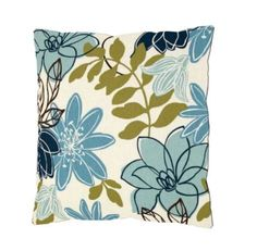 Blue and Teal Floral Pillow - Teal Flower Pillow - Teal Floral Throw Pillow - Blue and Teal Pillow - Teal Couch Pillow - Floral Throw Pillow