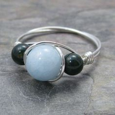 Aquamarine & Bloodstone Sterling Silver Wire Wrapped Ring