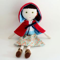 handmade fabric doll - Little Red Riding Hood waiting for spring