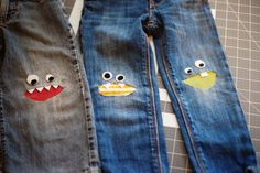 Tutorial: Monster Knee Patches – Crafty Like a Rox Sewing Jeans, Sewing Clothes, Diy Clothes, How To Patch Jeans, Patch Pants, Toddler Outfits, Kids Outfits, Sewing Paterns, Visible Mending