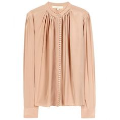 Vanessa Bruno Silk Blouse With Lace Appliqué ($312) ❤ liked on Polyvore featuring tops, blouses, shirts, chair, silk shirt, button up shirts, silk button down shirt, red silk shirt and shirt blouse