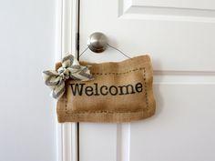 Welcome Door Hanger  Welcome Sign Burlap Door Hanger by Creazi