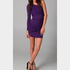 Alice + Olivia Purple One Sleeve Goddess Dress