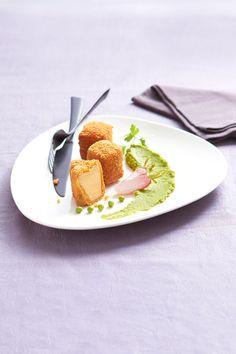 #Cromesquis de #FoieGras de canard et sa purée de petits pois. #Recette et conseils de nos #chefs sur www.feyel.com