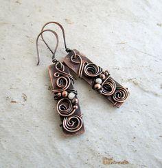 Bar Earrings - Wire Wrapped Earrings in Handmade - Hammered earrings for women - Drop Earrings Wedding - Dangle earrings gift for her Copper Cuff, Copper Jewelry, Wire Jewelry, Copper Bar, Hippie Jewelry, Jewlery, Hammered Copper, Jewelry Art, Beaded Jewelry