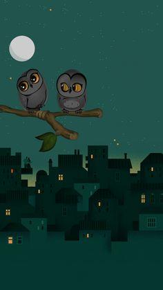 Owls wallpaper from Zedge. Owl Wallpaper, Wallpaper Backgrounds, Wallpapers, Beautiful Owl, Owl Art, Material Design, Designer Wallpaper, Illustration, Fairy Tales