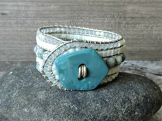 Blue green beaded cuff bracelet by CaliTerra Designs