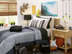 Amusing College Bedroom Design With Black Shades Floor Lamp And Grey Stain  Duvet Also Single Drawer Nightstand For Musician Bedroom Decor