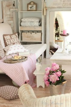 #Shabby #Chic inspirational ideas to make your house a home - pink and white bits and bobs.. http://www.myshabbychicstore.com