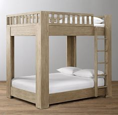 RH Baby & Child's Callum Platform Full-Over-Full Bunk Bed:A space-saving silhouette gets a modern makeover. With its platform-style bottom bunk and stout corner posts, our inspired bunk bed combines tried-and-true functionality with the best of modern design.