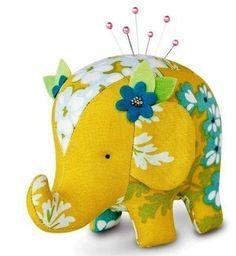 Bonito elefante de tela con molde.DIY
