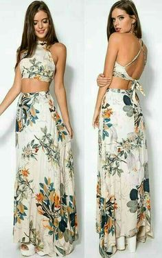 e12fc2811906 Add some artistic floral print to your wardrobe with perfect matching sets  of crop top and maxi skirt. Full of seasonal vibes all year round