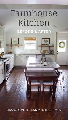 Here is a before and after of our farmhouse kitchen. When we bought the house, the kitchen and dining were side by side and rather small. Decor, Home, Primitive Bathrooms, Farmhouse Kitchen, Kitchen Decor, Diy Kitchen Furniture, White Farmhouse, Farmhouse Dining, Farmhouse Interior