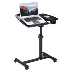 LANGRIA Laptop Stand Rolling Cart, Foldable Portable Mobile Height Adjustable Standing Table with Side Basket for Home Office Portable Laptop Desk, Laptop Table, Phone Stand For Desk, Laptop Stand, Folding Computer Desk, Pc Table, Small Home Offices, Standing Table, Adjustable Height Table