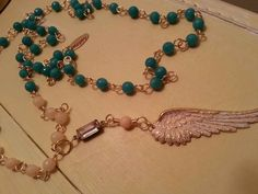 Boho Necklace Angel Wing NeCklace TurQuoise by villagefrippery