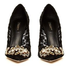 Dolce & Gabbana Crystal-embellished lace pumps (67,010 INR) ❤ liked on Polyvore featuring shoes, pumps, heels, black, black pointy-toe pumps, pointed-toe pumps, black pointed-toe pumps, black heel pumps and black shoes