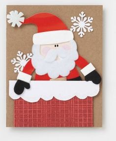 Santa Christmas Card Project - Emma Lee home Christmas Applique, Christmas Card Crafts, Merry Christmas Card, Christmas Cards To Make, Xmas Cards, Kids Christmas, Handmade Christmas, Father Christmas, Primitive Christmas