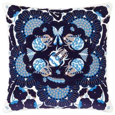 Klaus Haapaniemi's Bumble Bees cushion cover is illustrated with an ornamental setting of blue bumble bees and other small crawlers. The square-shaped cushion cover is made on sumptuous cotton velvet and equipped with a hidden zipper. Floral Throw Pillows, Toss Pillows, Accent Pillows, Design Shop, Flora Und Fauna, Floral Throws, Textiles, Palette, Velvet Cushions