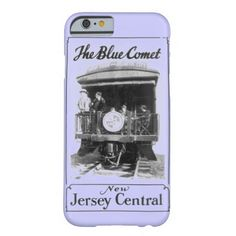 Vintage Blue Comet Train Barely There iPhone 6 Case; $42.95 - #stanrail - The Blue Comet was a passenger train operated by Central Railroad of New Jersey from 1929 to 1941 between New York and Atlantic City. -  This form-fitting featherlight Case-Mate custom case provides full coverage to your iPhone 6 with 4.7 inch screen.  @stanrails_store