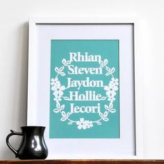 personalised family names print wall art by ant design gifts | notonthehighstreet.com