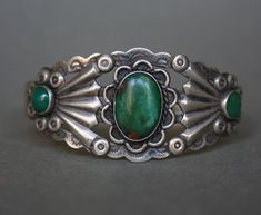 Vintage Fred Harvey Sterling Silver Turquoise Native American Cuff Bracelet