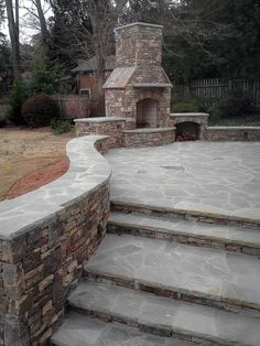 Outdoor Fireplace Tennessee Fieldstone With Gray Flagstone By Hardscapes  Inc.