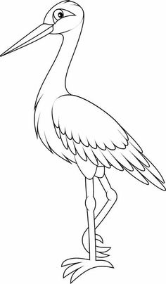Baby Drawing, Drawing For Kids, Art For Kids, Bird Coloring Pages, Coloring For Kids, Storch Baby, Planet Crafts, Bird Template, Bird Stencil