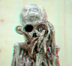https://flic.kr/p/BL6N4V | Keramiek sculpture by Carolein Smit 3D | Museum Beelden aan Zee anaglyph stereo red/cyan Skeleton.  the Armature of the Body in Contemporary Sculpture