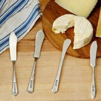 Hand-Stamped Cheese Knives (Set of 4) by BasilicusJones For that relax and enjoy look table!