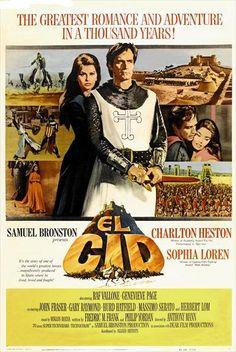 """1961 - El Cid - Charleton Heston and Sophia Loren. My favorite """"old"""" movie. My…"""