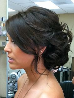 Side bun with braid... but I will have a headband, so maybe too much?