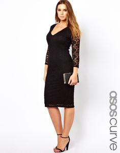 "ASOS CURVE Body-Conscious Midi Dress In Lace - also available in ""longer length"" #plussize"