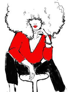 Black girl rock her Afro in Red and Black