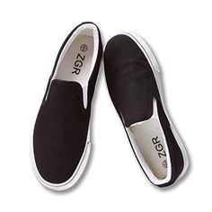ceb06bf7ad1 Buy ZGR Womens Slip on Fashion Sneakers Black White Canvas Loafer Shoes  Sneaker. Explore our