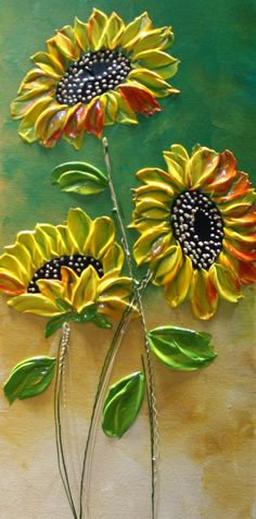 Abstract Sunflower Painting Modern Textured by natasartstudio