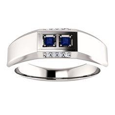 14kt White Gold 2mm Center Square 2 Sapphire and 8 Accent Genuine Diamonds Men's Ring...(ST9799:313:P).! Price: $599.99 #diamonds #ring #gold #twostone #fashion #jewelry