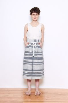 Laura Siegel Striped Culottes Recycled Saree