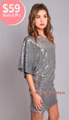 Too Cute to pass up! One Shoulder Sequin Dress. On Sale for $49.99! Limited Sizes