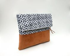 Foldover clutch / Cotton handbag / Faux suede leather clutch bag / Brown foldover clutch bag