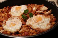 Migas de pastor con huevos fritos