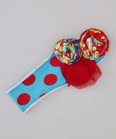 Take a look at this Turquoise & Red Polka Dot Flora Headband by Mustard Pie on #zulily today!