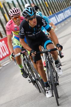 Giro d'Italia stage 8 Richie Porte (Team Sky) leads Alberto Contador on the final climb (Bettini Photo)