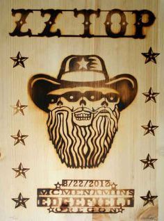 ZZ Top Edgefield Branded Wood Poster by Emek Rock Posters, Band Posters, Concert Posters, Film Posters, Blues Rock, Vintage Music Posters, Vintage Movies, Rock & Pop, Rock And Roll Bands